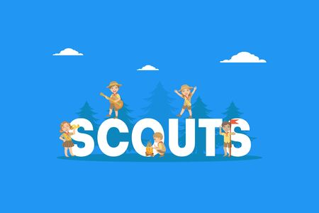 Scouts Word with Giant Letters Banner Template, Kids Scouts in Uniform Camping Vector Illustration