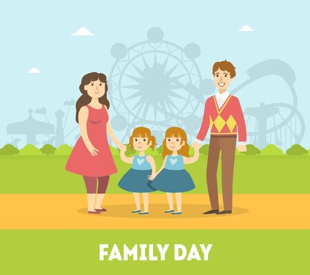 Family Day Banner Template, Cheerful Parents and Their Twin Daughters Walking in Park Outdoor, Happy Family Vector Illustration in Flat Style.