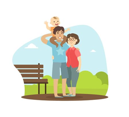Cheerful Parents and Their Toddler Baby Walking in Park Outdoor, Boy Sitting on Shoulders of His Father, Happy Family Vector Illustration in Flat Style. Vettoriali