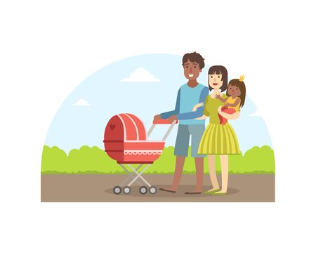 Cheerful Interracial Parents with Their Toddler Daughter and Baby Walking in Park Outdoor, Father Carrying Baby Stroller, Mother Holding Her Little Daughter, Happy Family Vector Illustration Illustration