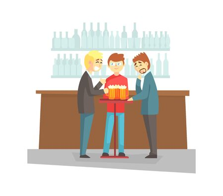 Three Male Friends Having Fun and Drinking Beer in Pub, Bar or Cafe, Male Friendship Vector Illustration in Flat Style.