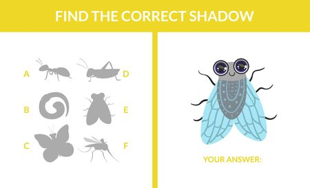 Matching Game with Cute Flying Insects, Find the Correct Shadow Educational Game for Kids Vector Illustration