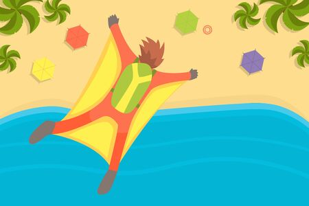Man Wearing Wing Suit Flying in Sky Under Tropical Beach, Skydiving Extreme Sport Vector Illustration, Web Design. Illustration