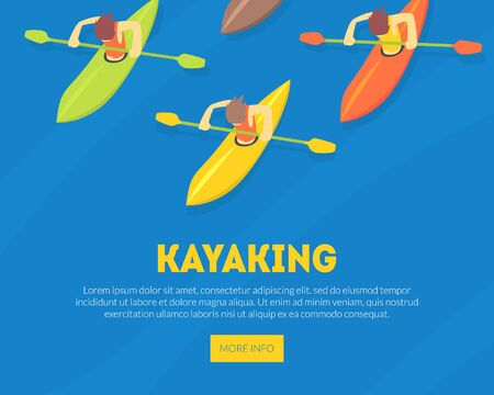 Kayaking Water Sport Landing Page Template, Athletes Paddling Kayaks, Extreme Sport Vector Illustration, Web Design.