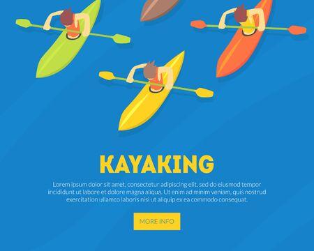 Kayaking Water Sport Landing Page Template, Athletes Paddling Kayaks, Extreme Sport Vector Illustration, Web Design.