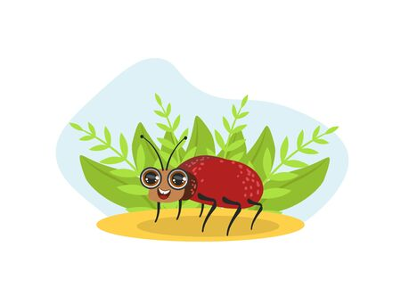 Cute Bug Beetle Insect Character on Nature Spring or Summer Background Vector Illustration