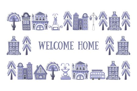 Welcome Home Banner Template, Frame with Hand Drawn Public Buildings, Houses and City Street Objects Vector Illustration