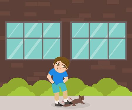 Cruelty Boy Going to Step on Tail of Cat, Bad Behavior Vector Illustration in Flat Style.