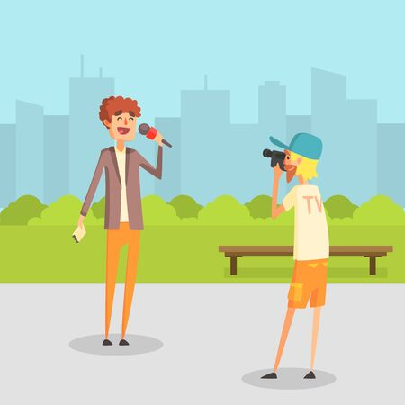 Female Reporter, Journalist Doing Report, Cameraman Operator Filming News in Park Outdoor Vector Illustration in Flat Style.