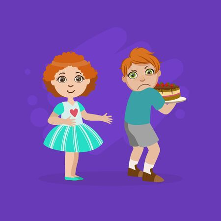 Greedy Boy Not Sharing Cake with Girl, Bad Behavior Vector Illustration in Flat Style. 일러스트