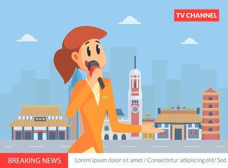 Female Reporter, News Anchorwoman on TV Breaking News Vector Illustration Illusztráció