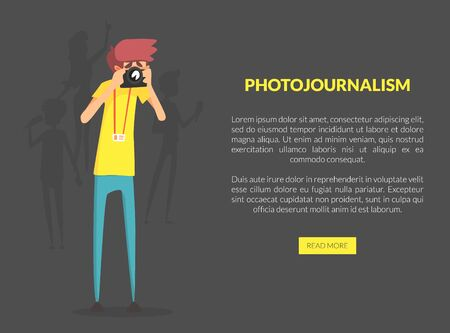Photojournalism Landing Page Template with Space for Text, Professional Photographer Taking Picture with Photo Camera Vector Illustration, Web Design.