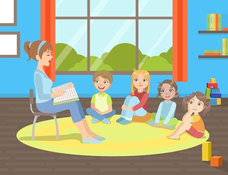 Gruppe von Kindern, die auf dem Boden sitzen, Lehrer, der auf einem Stuhl sitzt und ihnen ein Buch vorliest