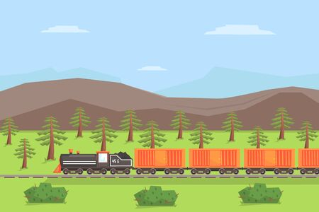 Freight Train Moving on Nature Landscape, Rail Transportation on Summer Mountain Background Vector Illustration in Flat Style.