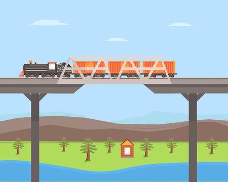 Freight Train Moving on the Bridge, Rail Transportation on Summer Mountain Landscape Vector Illustration in Flat Style.