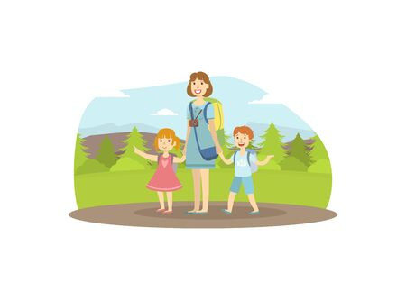 Happy Family Travelling, Mother, Son and Daughter Trekking to Nature, Mom and Her Two Kids Walking in Forest, Travel, Vacation, and Summer Adventure Vector Illustration in Flat Style.