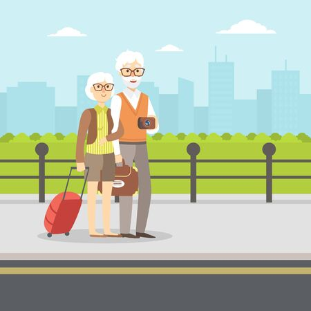 Senior Couple Waiting for Transport, Elderly Tourists Having Summer Vacation Vector Illustration