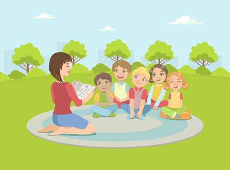 Group of Kids Sitting on Plaid Outdoors,Teacher Reading Book to Them Vector Illustration in Flat Style.