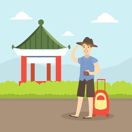 Tourist with Suitcase Sightseeing, Man exploring Asian Destinations, Travel, Vacation, and Summer Adventure Vector Illustration in Flat Style. Stock Illustratie