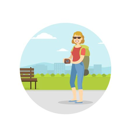 Woman Travelling with Backpack on Summer Vacation, Female Tourist Sightseeing and Taking Photo with Camera Vector Illustration in Flat Style. Illustration