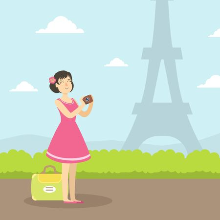 Female Tourist Sightseeing and Taking Photo of Eiffel Tower, Girl Travelling on Summer Vacation, Vector Illustration in Flat Style.