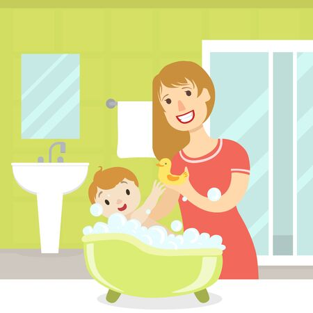 Mother Bathing her Son in Bathtub Full of Foam, Mom and Her Son in Everyday Life at Home, Bathroom Interior with Furniture Vector Illustration in Flat Style. Banque d'images - 128446301