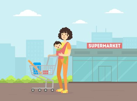 Mother with Toddler Baby in Sling Pushing Shopping Cart, Young Woman With Her Kid Standing in Front of Supermarket Building Vector Illustration Stock Illustratie