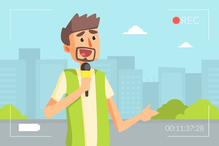 Male Reporter Doing Report with Microphone, Journalist Presenting Live News Vector Illustration in Flat Style.