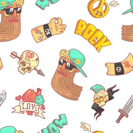 Patrón sin costuras de música rock, músico, tatuaje, calavera con flecha, elemento de diseño de pegatinas de manos gesticulantes se puede utilizar para papel tapiz, embalaje, ilustración de Vector de fondo.