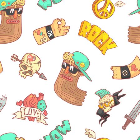 Rock Music Seamless Pattern, Musician, Tattoo, Skull with Arrow, Gesturing Hands Stickers Design Element Can Be Used for Wallpaper, Packaging, Background Vector Illustration.