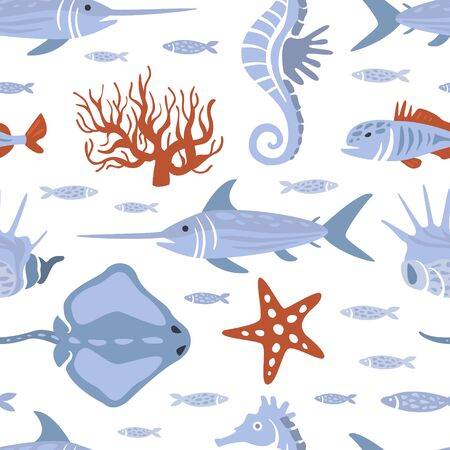 Sea Creatures Seamless Pattern, Underwater Life, Marine Fishes Design Element Can Be Used for Wallpaper, Packaging, Background Vector Illustration