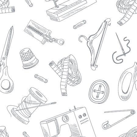 Ręcznie rysowane akcesoria do szycia wzór, robótki, monochromatyczny element projektu może służyć do tekstyliów, tapety, opakowania, tło wektor ilustracja. Ilustracje wektorowe