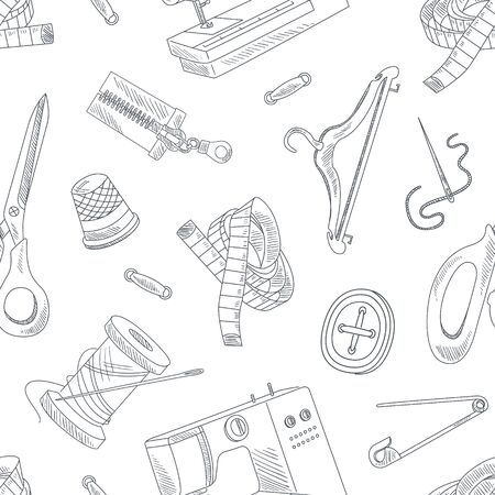 Hand Drawn Sewing Accessories Seamless Pattern, Needlework, Monochrome Design Element Can Be Used for Textile, Wallpaper, Packaging, Background Vector Illustration. Illustration