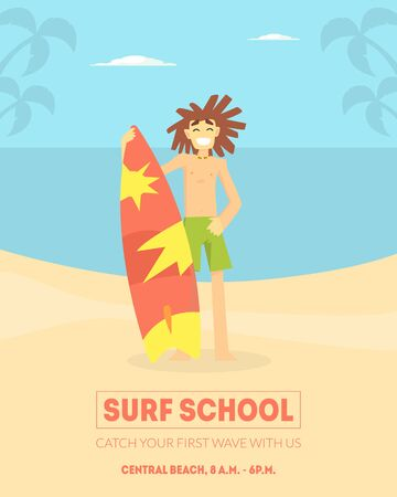 Surf School Banner Template, Smiling Male Surfer Standing with Surfboard on Beach Vector Illustration, Web Design. Banque d'images - 128446307