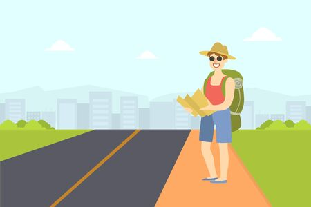 Male Hitchhiker Traveling with Backpack and Map, Guy Trying to Stop Car on Highway By Hand, Person Travelling By Autostop Vector Illustration in Flat Style. Stock Illustratie