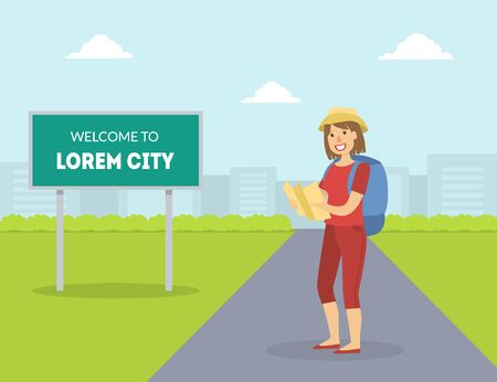 Female HitchhikerTraveling with Backpack and Map, Girl Trying to Stop Car on Highway By Hand, Person Travelling By Autostop Vector Illustration in Flat Style. 向量圖像