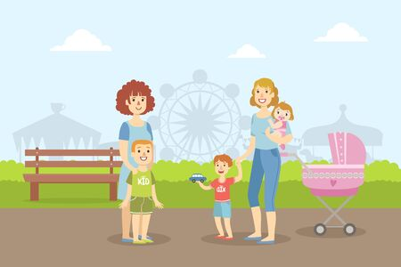 Mothers Walking with Their Kids in Amusement Park, Two Moms with Baby Carriage and Sons Resting on Nature Vector Illustration in Flat Style. Illustration