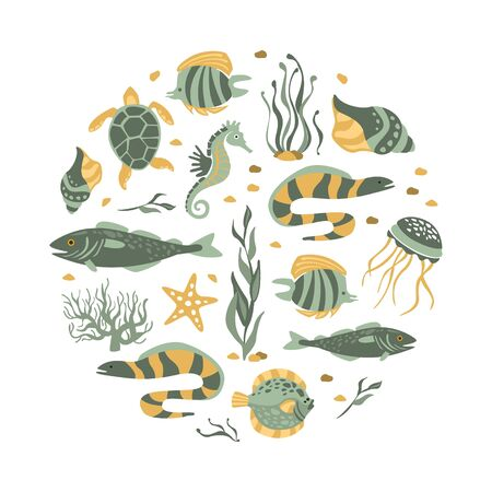 Sea Creatures Seamless Pattern of Round Shape, Underwater Life, Marine Fishes Vector Illustration Illusztráció