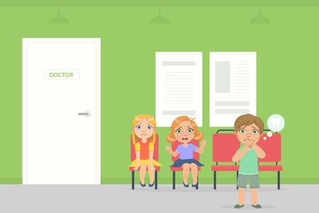 Waiting Room For Children in Hospital, Sick Kids Sitting on Chairs and Waiting for Doctor Examination Vector Illustration in Flat Style.