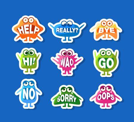 Conjunto de pegatinas de monstruos lindos, divertidos personajes Emoji con palabras en la boca, ilustración vectorial, diseño web.