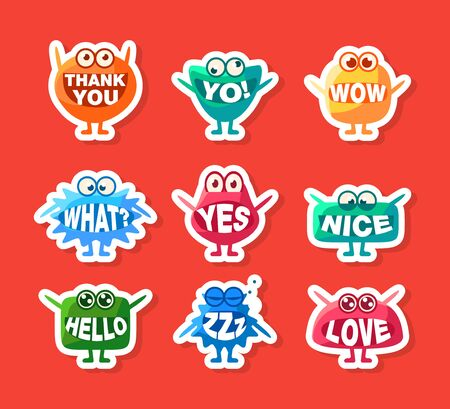 Cute Monsters Stickers Set, Funny Colorful Emoji Characters with Words In Their Mouths Vector Illustration, Web Design. 向量圖像