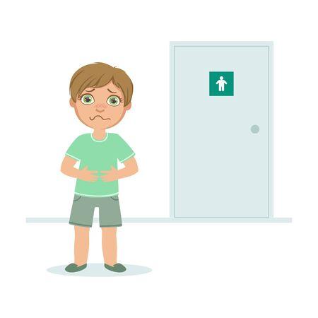Jongen met volle blaas willen plassen, Kid staande voor WC deur vectorillustratie in vlakke stijl.