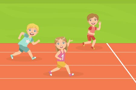 Boys and Girl Running Race Tracks of Stadium at Competition Vector Illustration in Flat Style.