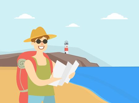 Man Travelling with Backpack, Male Tourist Planning Route with Map, Travel, Vacation, and Summer Adventure Vector Illustration in Flat Style. 向量圖像