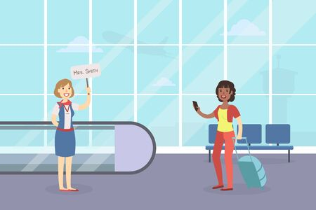 Tourist Guide Waiting for Guest Arrival at Airport, Woman Metting Someone with Broadsheet, Female Tourist with Luggage Vector Illustration in Flat Style.