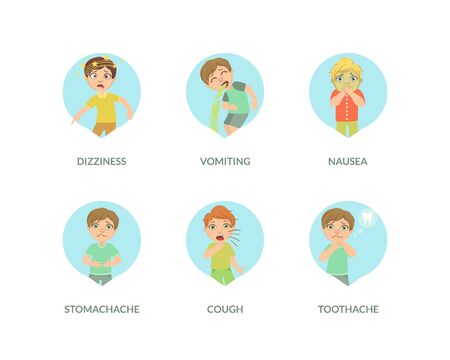 Cute Boy Suffering from Different Symptoms Set, Dizziness, Vomiting, Nausea, Stomach Ache, Cough, Toothache Vector Illustration in Fla Style