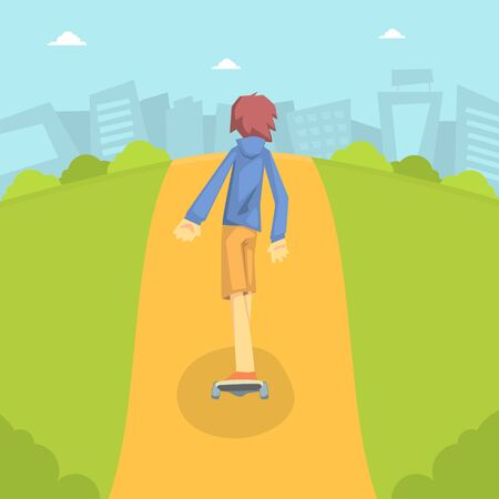 Teen Boy in Baseball Cap Riding Skateboard Outdoor with Cityscape Background Vector Illustration in Flat Style. Ilustração