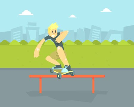 Teen Boy in Baseball Cap Riding Skateboard, Skateboarder Doing Jumping Trick Vector Illustration in Flat Style.