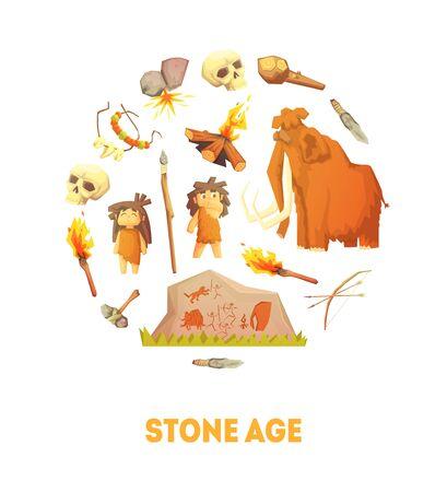 Plantilla de banner de la edad de piedra, gente de la cueva prehistórica, herramientas de caza de forma redonda ilustración vectorial, diseño web.