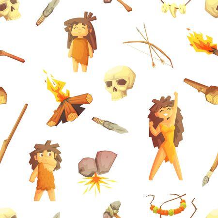 Patrón sin fisuras de la edad de piedra con personas prehistóricas y herramientas de caza, el elemento de diseño se puede utilizar para textiles, papel tapiz, envases, ilustración vectorial de fondo. Ilustración de vector